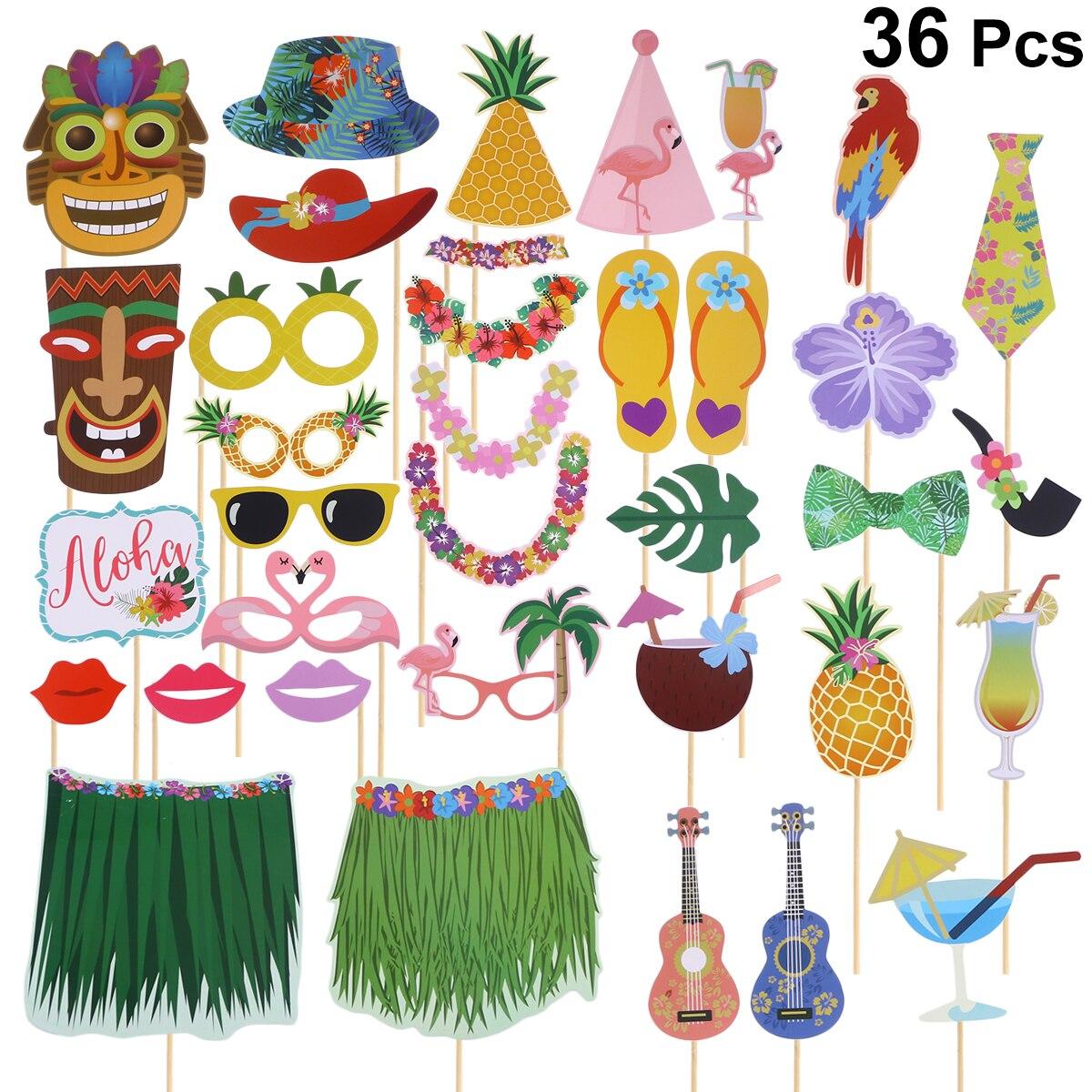Us $7.57 35% Off|Ev Ve Bahçe'ten Fotoğraf Kabini Donanımları'de 36 Adet  Yaratıcı Fotoğraf Sahne Hawai Temalı Komik Fotoğrafçılık Sahne Doğum Günü  ... à Salon De Jardin Hawai