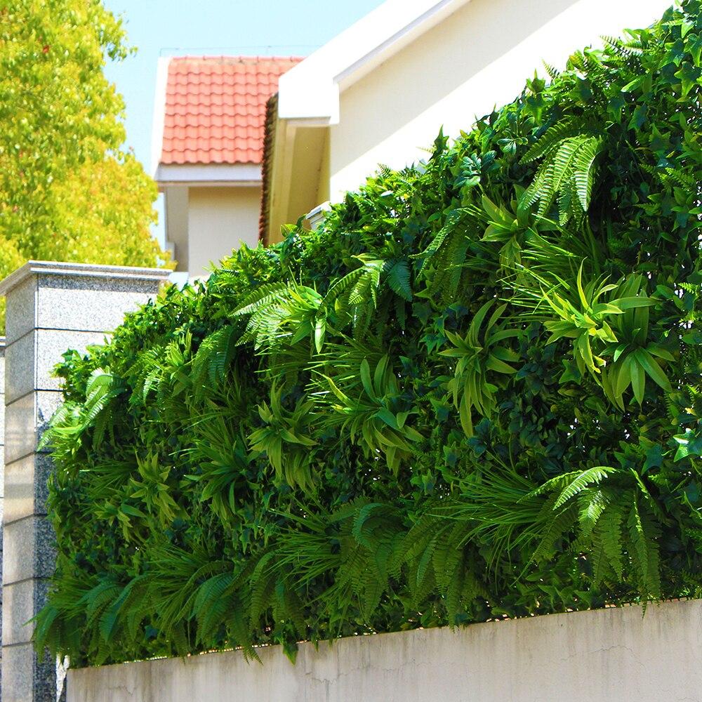 Us $99.99 |Ev Ve Bahçe'ten Yapay Bitkiler'de Açık Yapay Bitki Duvarları Çit  Bırakır 1X1 M Uv Geçirmez Diy Dikey Bahçe Duvar Sarmaşık Panelleri Ekran ... concernant Bache Verte Jardin