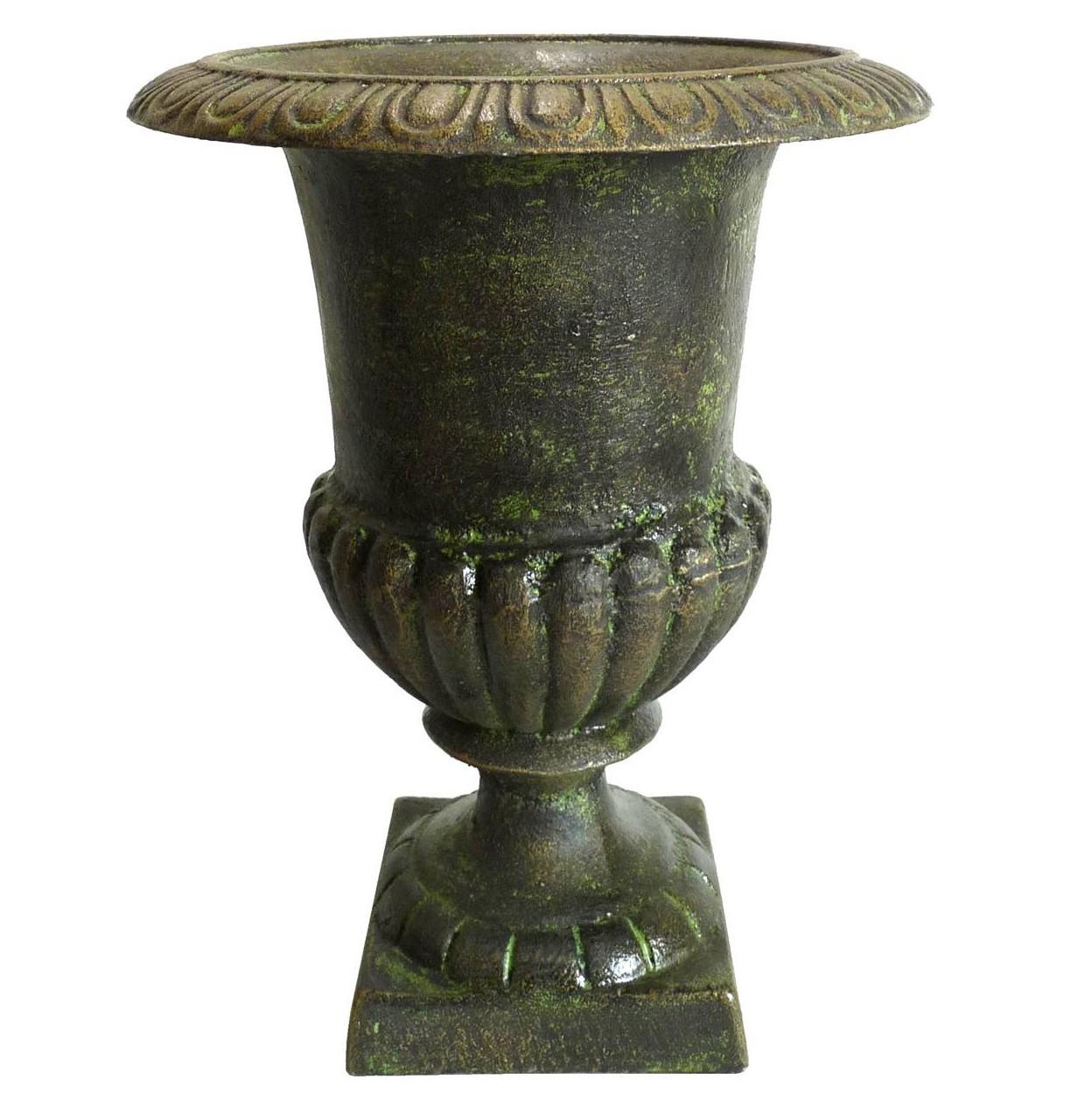Vase Vasque Jardiniere En Fonte Vert Anglais Style Medicis ... destiné Pot En Fonte Pour Jardin