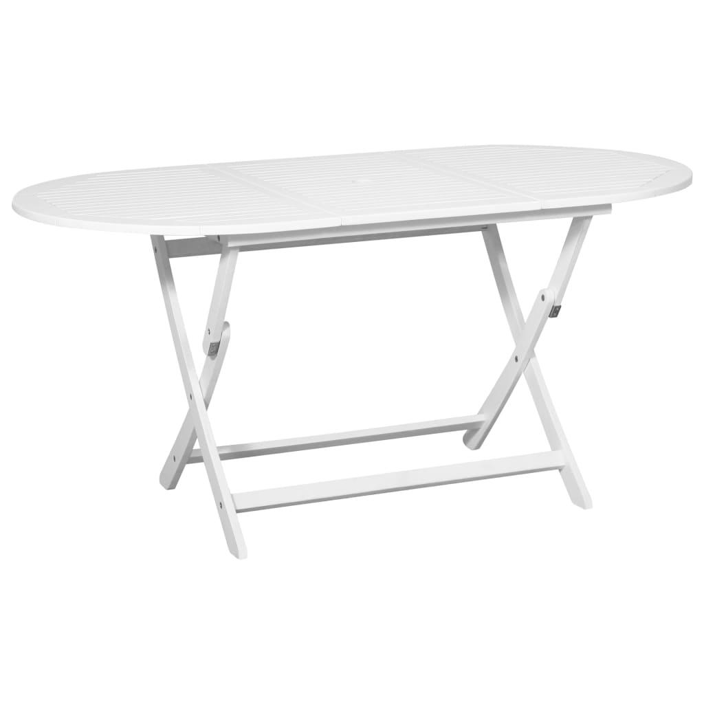 Vidaxl Acacia Table De Salle À Manger D'extérieur Blanc Table De Jardin  Meuble pour Salle A Manger De Jardin Pas Cher