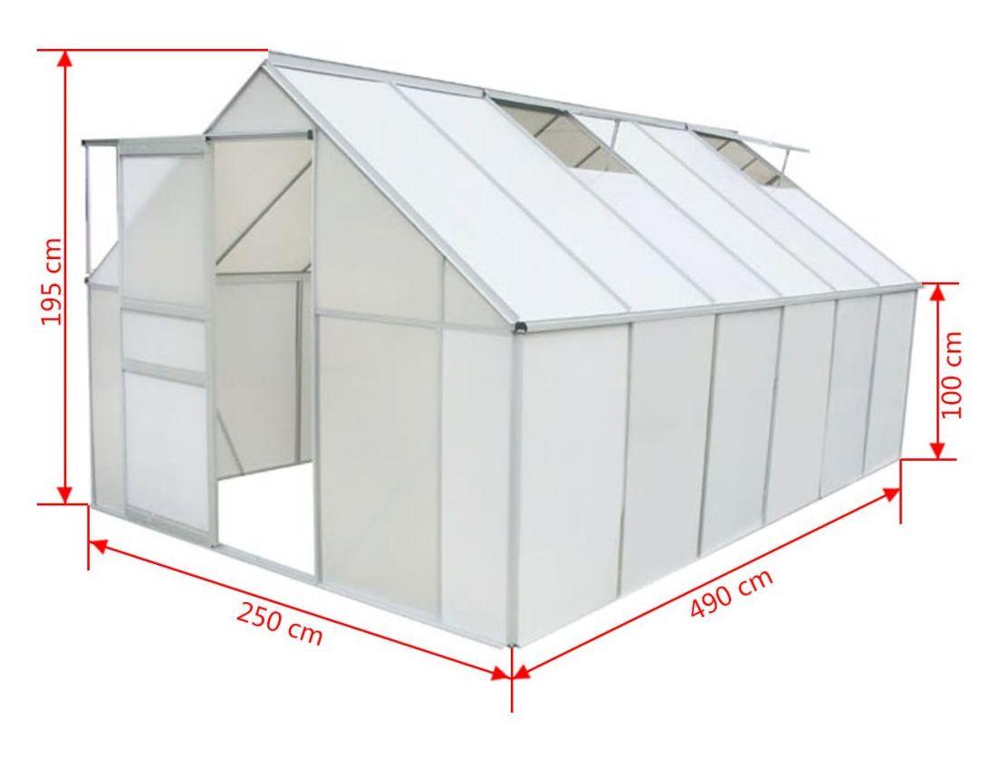Vidaxl Serre Polycarbonate Et Aluminium 490 X 250 X 195 Cm intérieur Serre De Jardin 18M2