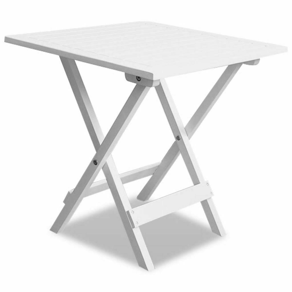 Vidaxl Table Basse Blanche En Bois D'acacia Table Pliante De ... destiné Table De Jardin Pliante En Bois