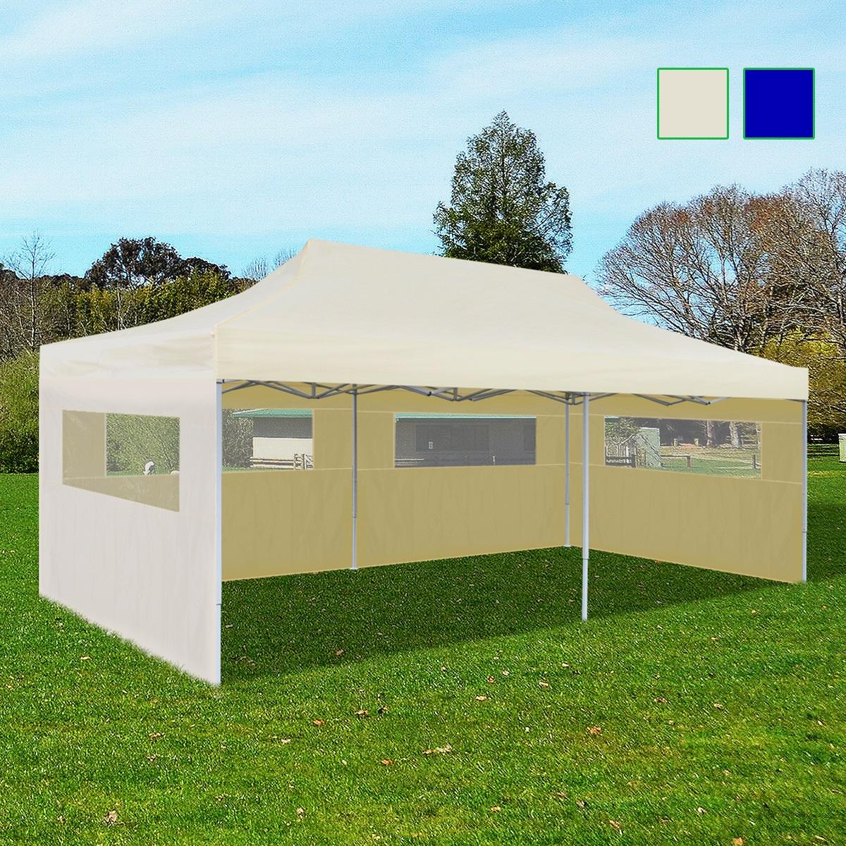 Vidaxl Tente Réception Pliable Chapiteau Tonnelle Pavillon Jardin  Bleu/crème   Ebay intérieur Tonelle Jardin