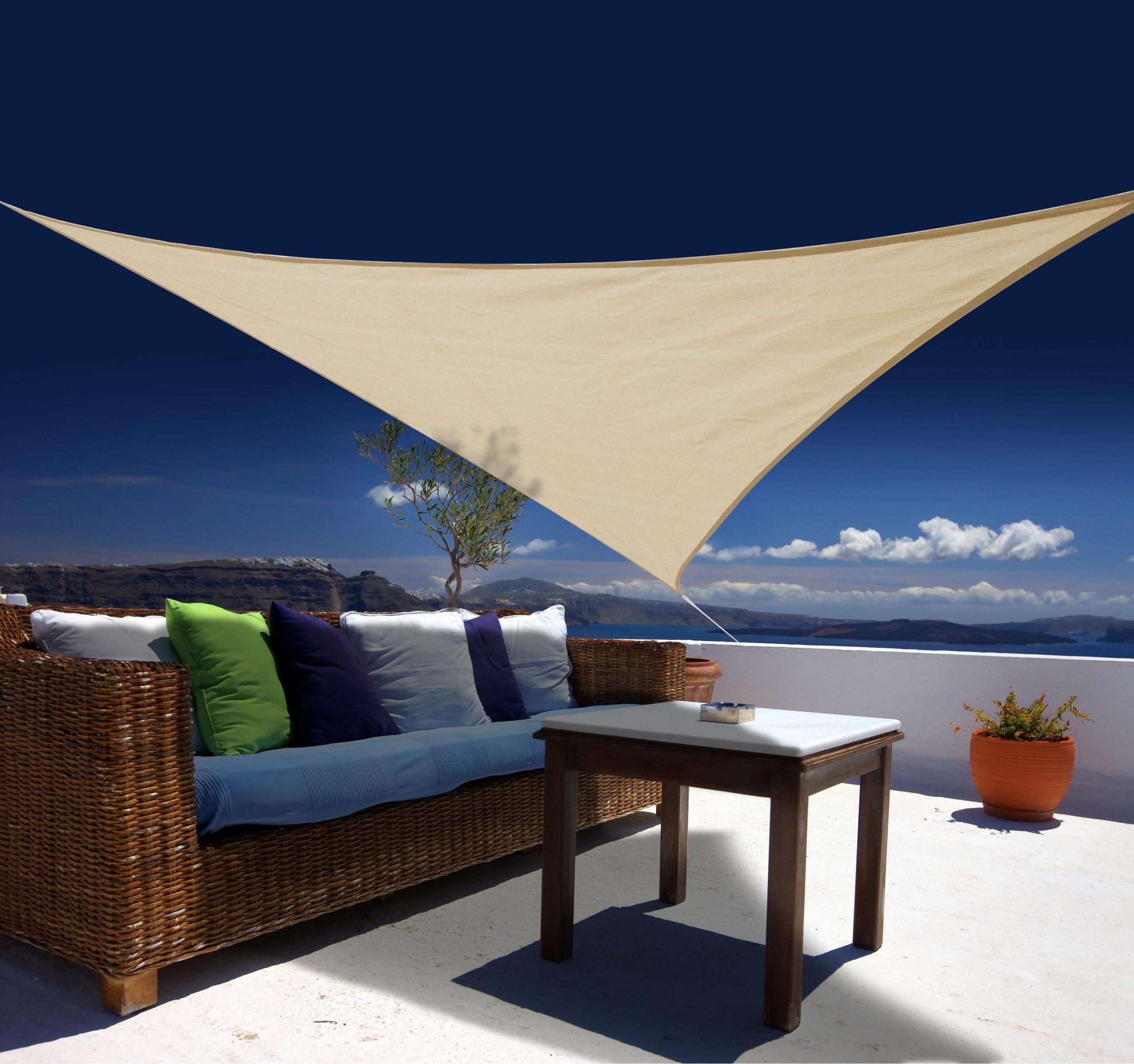 Voile D'ombrage Triangulaire Sable L.360 X L.360 Cm | Voile ... à Toile Triangle Jardin