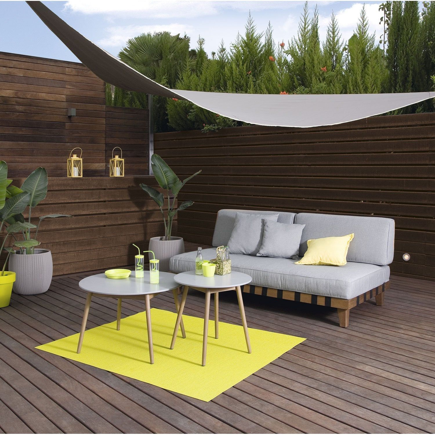 Voile D'ombrage Triangulaire Taupe Fossil L.360 X L.360 Cm ... concernant Toile Triangle Jardin