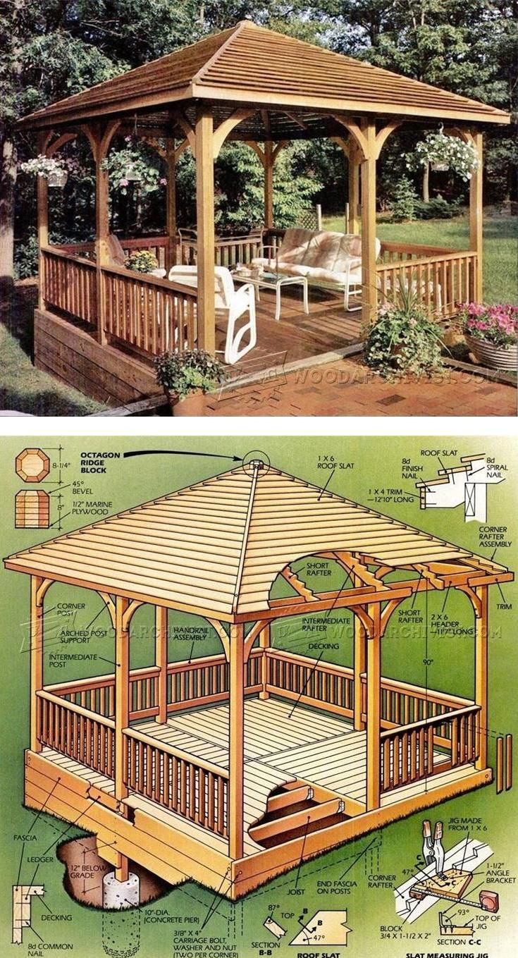 Wooden Gazebo Plans - Outdoor Plans And Projects ... concernant Support Abri De Jardin