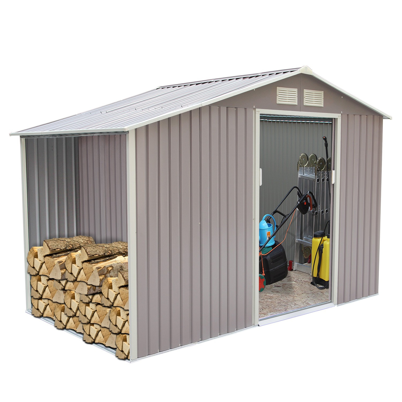 Woody 6.53 M² : Abri De Jardin Avec Abri Bûches En Metal Anti-Corrosion Gris dedans Abris De Jardin En Metal