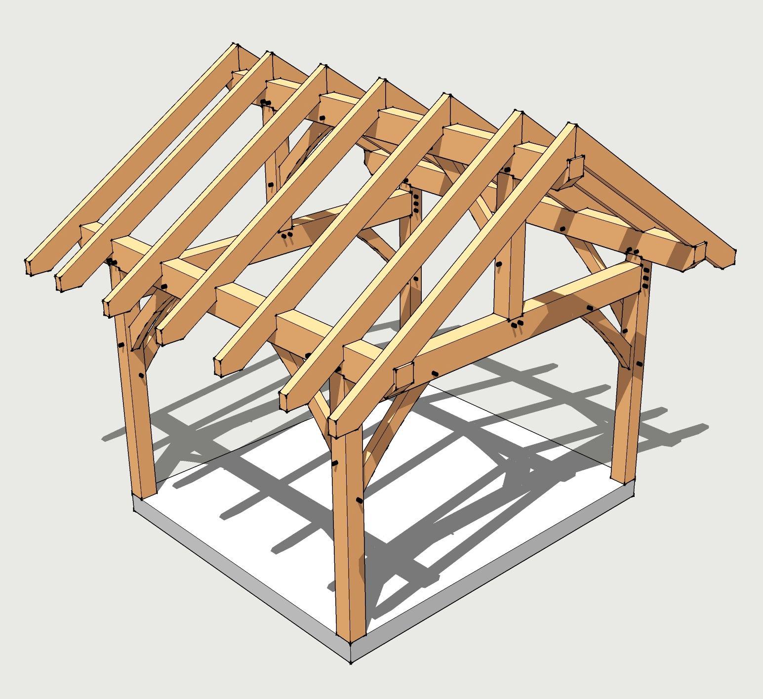 12X14 Timber Frame Plan | Gazebo Bois, Abri Bois Et Hangar À ... à Hangar Jardin Bois