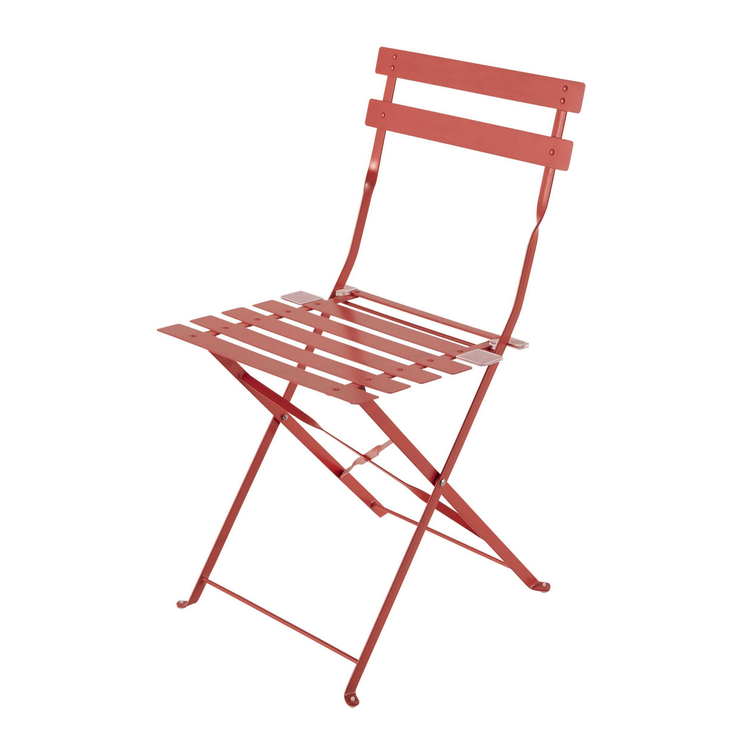 2 Chaises Pliantes De Jardin En Métal Rouge Confetti ... dedans Chaise De Jardin Metal Pliante