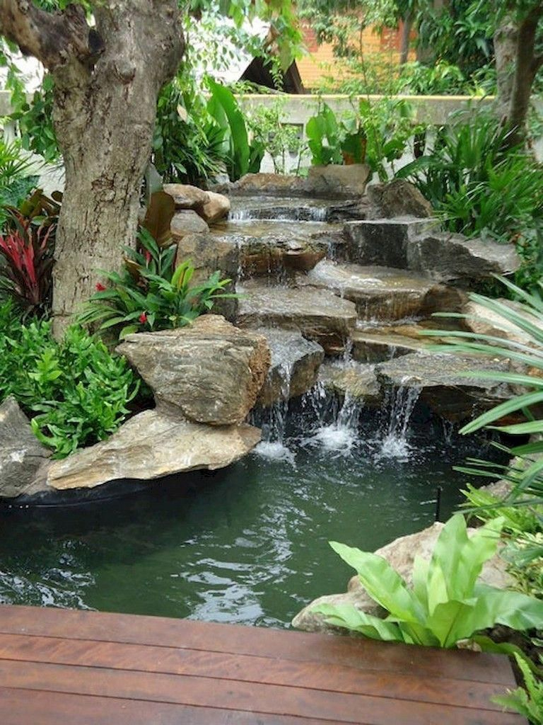 60 Marvelous Backyard Waterfall Garden Landscaping Ideas ... destiné Fontaine Jardin Castorama