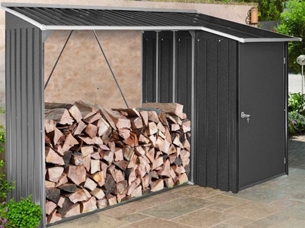 Abri Bûches + Remise Métal Woodstore Duramax + Store 2,82M² avec Abri Buches