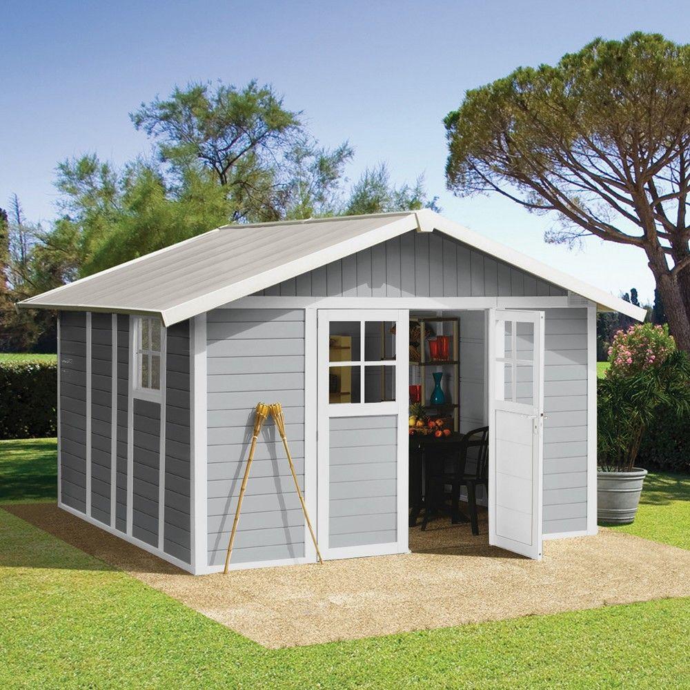 Abri De Jardin Résine Grosfillex 11,2 M² Ep. 26 Mm Deco Gris destiné Abri De Jardin Grosfillex