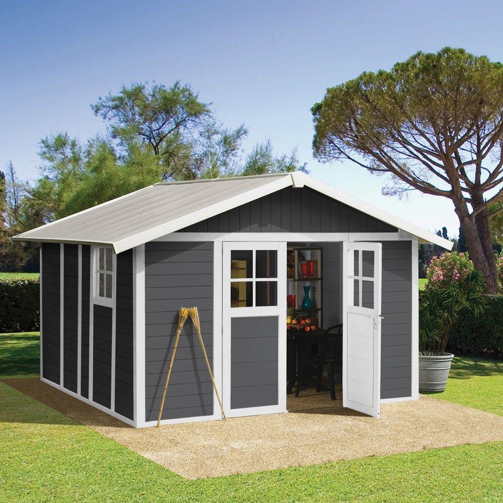 Abri De Jardin Résine Grosfillex 11,2 M² Ep. 26 Mm Deco Gris pour Abri De Jardin Grosfillex