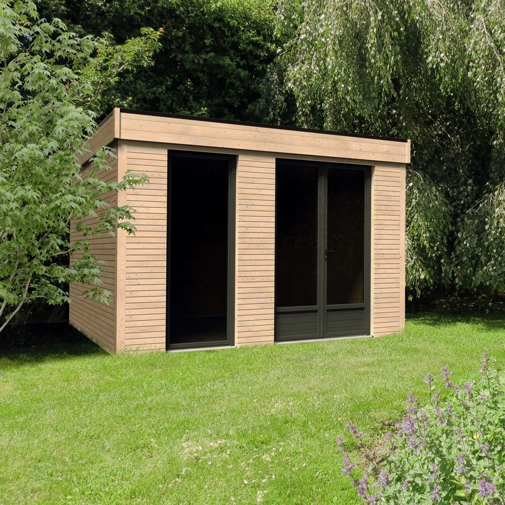 Abri De Jardin Semi Habitable Toit Plat Décor Home 10,91 M² Ep. 90 Mm avec Chalet Bois Toit Plat