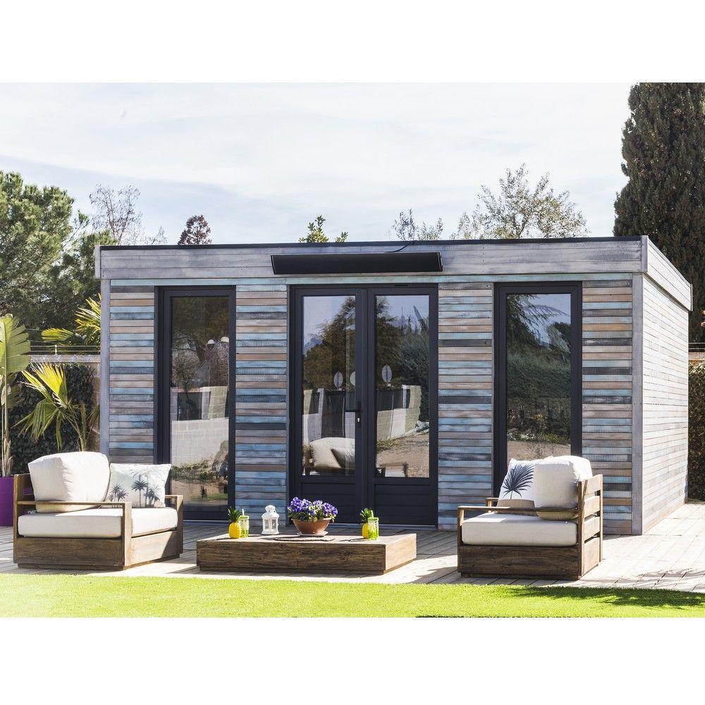 Abri De Jardin Semi Habitable Toit Plat Décor Home 24,70 M² Ep. 90 Mm intérieur Maison De Jardin En Bois Habitable
