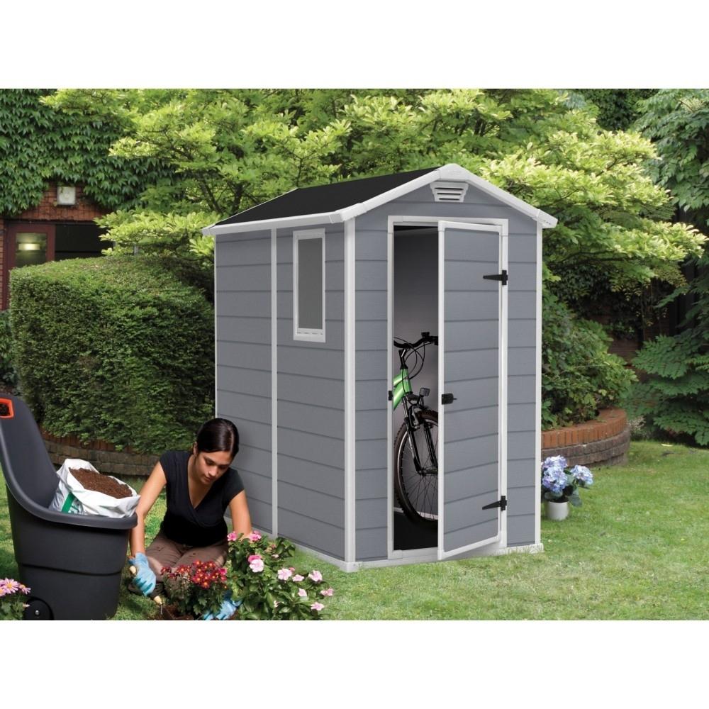 Abri Keter Premium 46Sp Gris 1 Fenêtre Fixe 1.96M2 avec Abri De Jardin En Resine