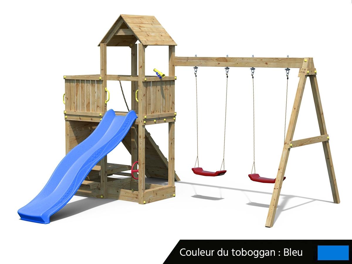Aire De Jeux Floppi Avec Balançoire Double - Fungoo - concernant Balancoire Avec Toboggan