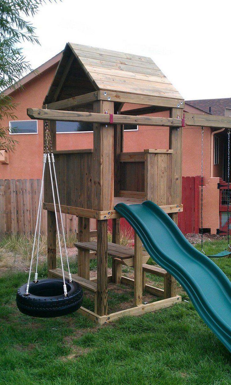 Aire De Jeux Pour Jardin - Idées En Images Pour Valoriser L ... pour Balancoire Bois Avec Toboggan