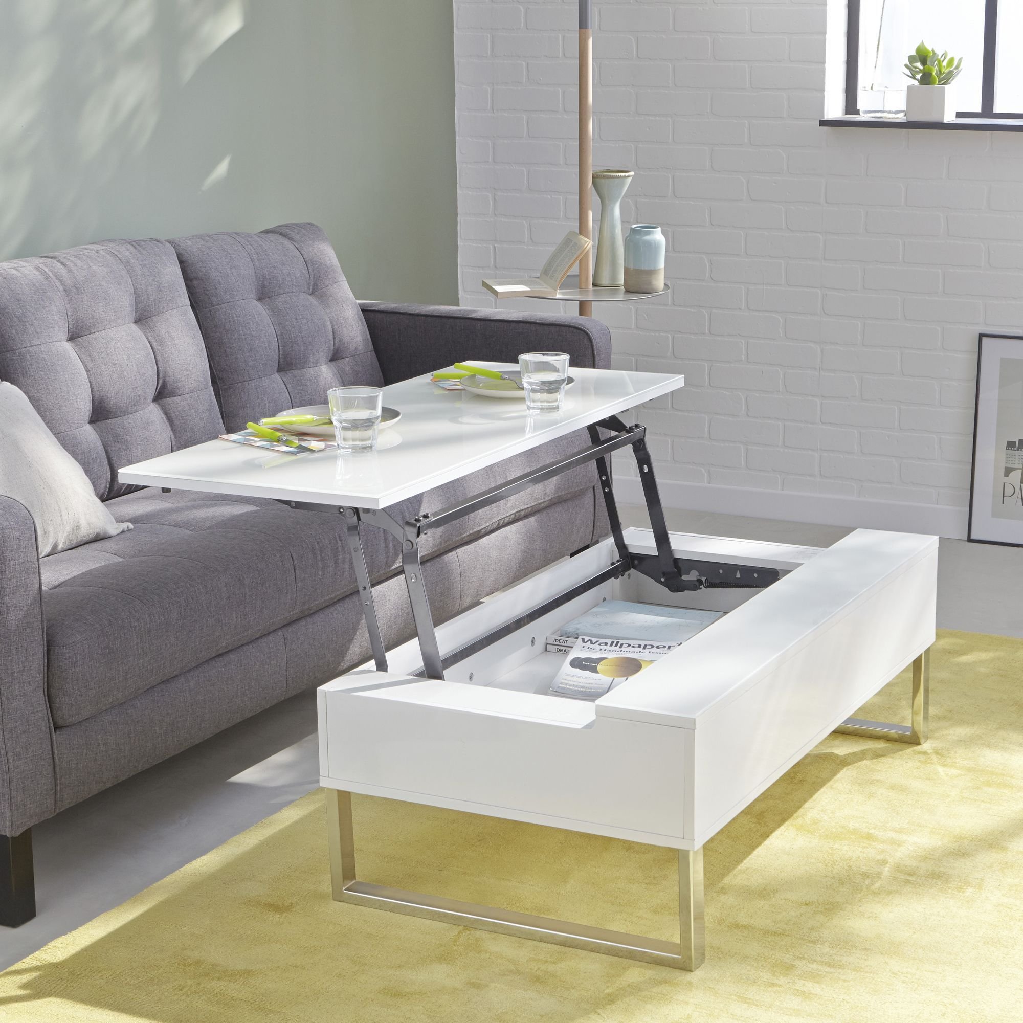Alinea : Novy Table Basse Blanche Avec Tablette Relevable ... intérieur Table Basse Alinea