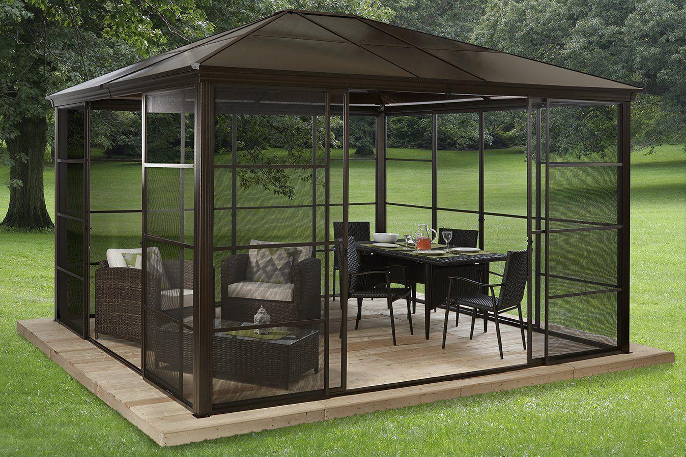 Amazon : Gazebo Castel #39 - Screen House 12' X 14 ... avec Kiosque Aluminium Jardin