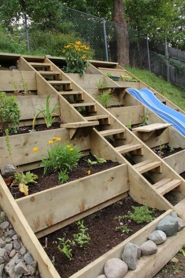 Aménager Son Jardin En Pente - Conseils Pratiques Et Photos ... dedans Comment Aménager Son Jardin Pas Cher