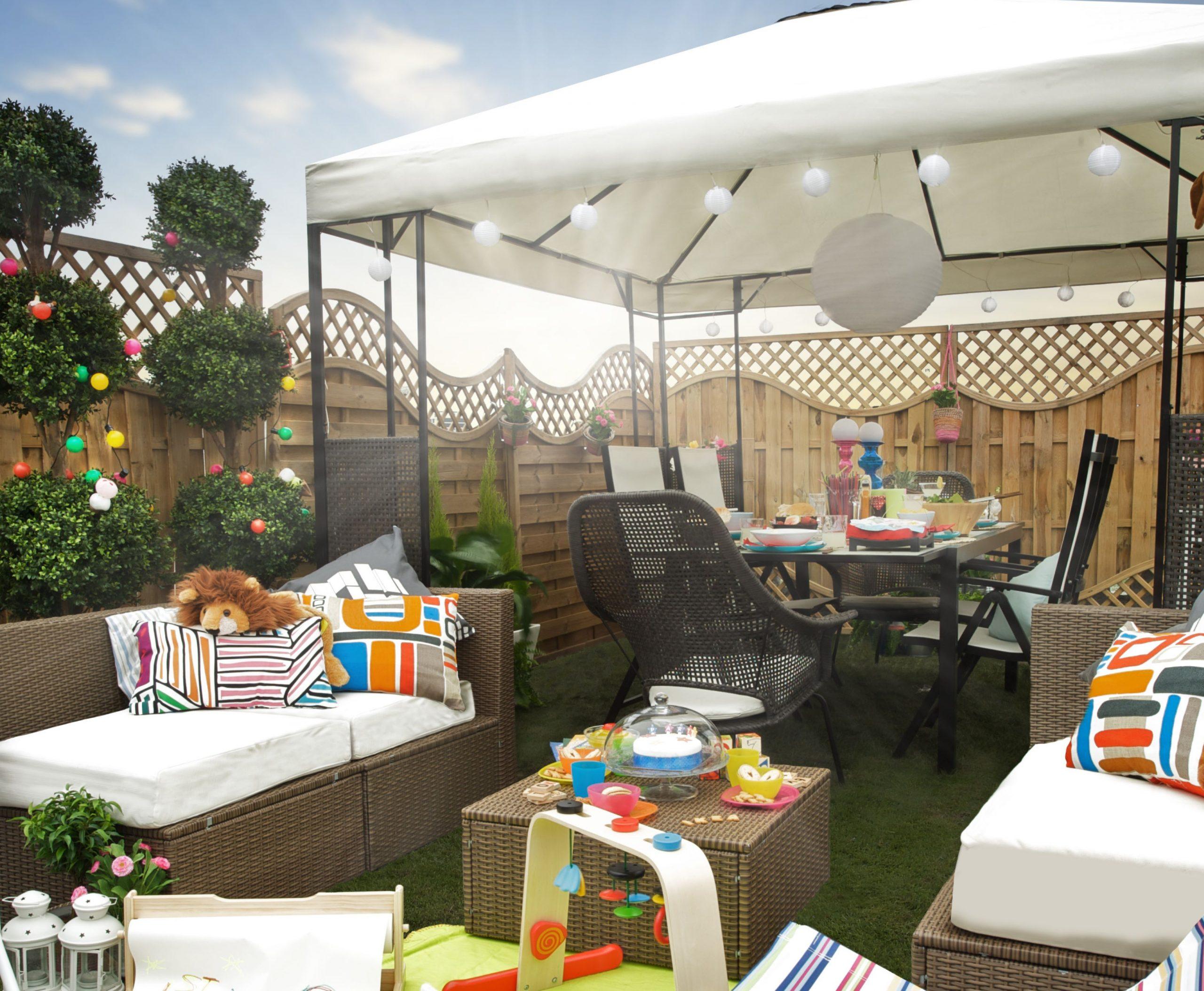 Ammerö Gazebo - Dark Brown, Beige 300X300 Cm In 2020   Ikea ... pour Alice Garden Table De Jardin