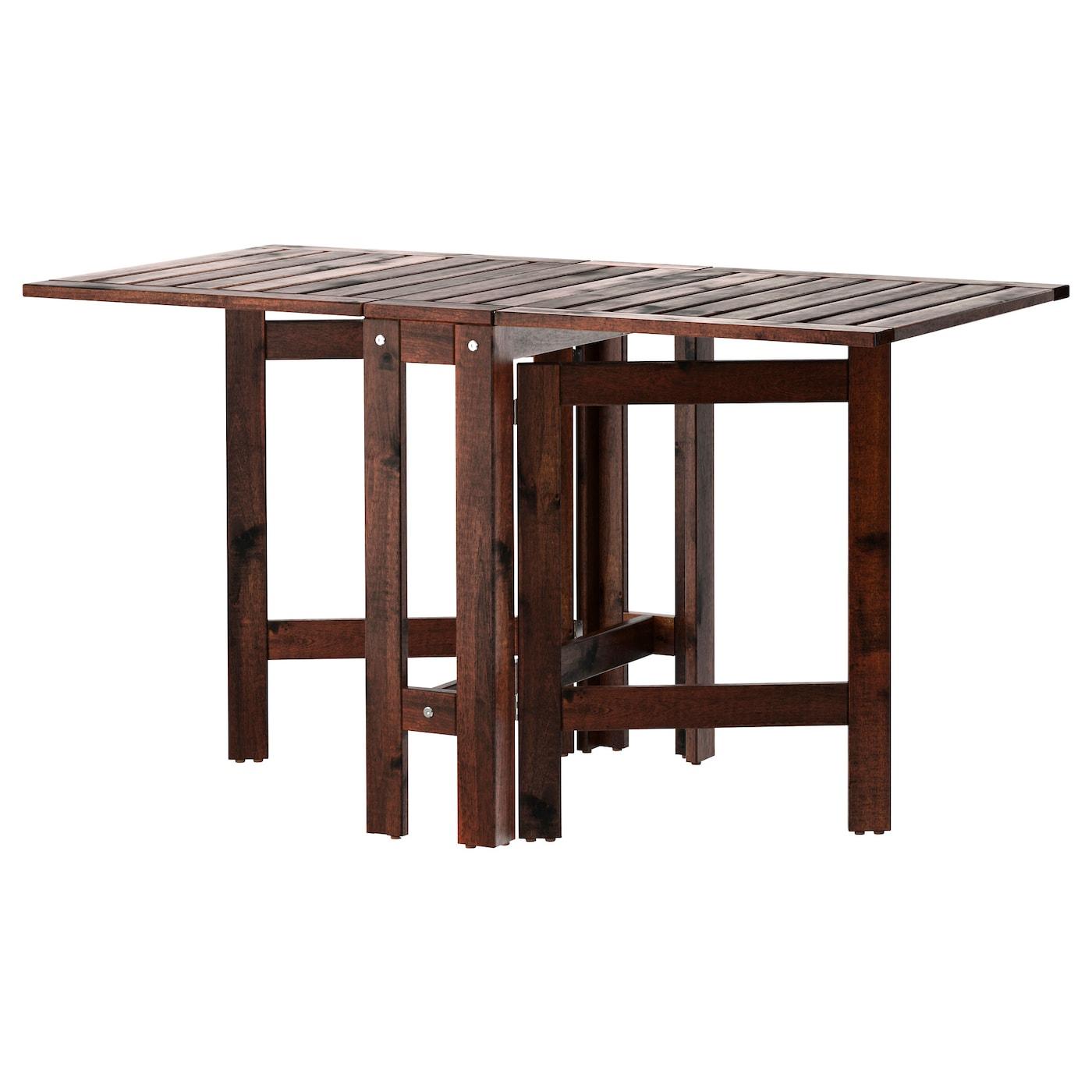 Äpplarö Table Pliante, Extérieur - Brun Teinté Brun 20/77/133X62 Cm dedans Ikea Table Pliante Jardin