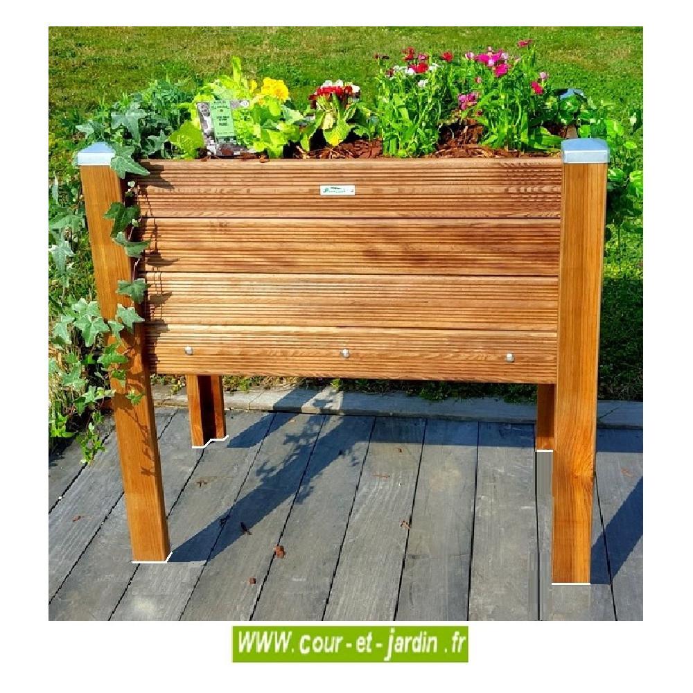 Bac À Fleurs En Bois Sur Pieds . Bac À Plantes De 90Cm X 50 ... concernant Bac À Jardiner