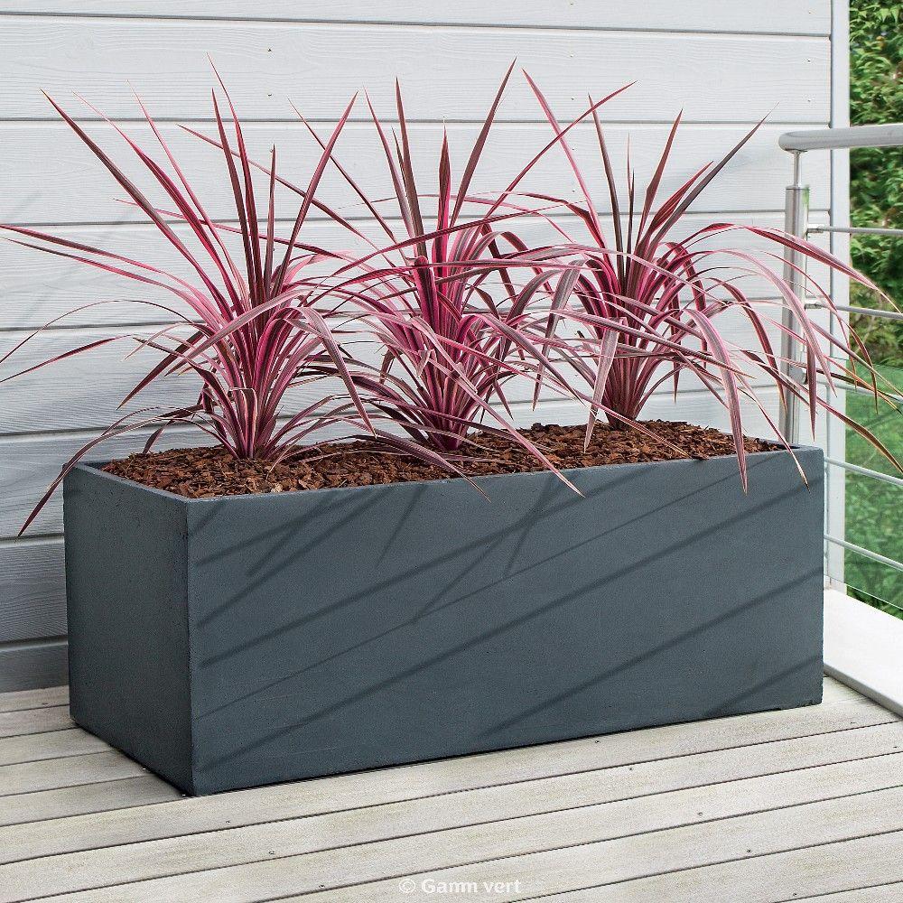 Bac À Fleurs Fibre De Terre Clayfibre L100 H45 Cm Anthracite intérieur Bac Rectangulaire Jardin