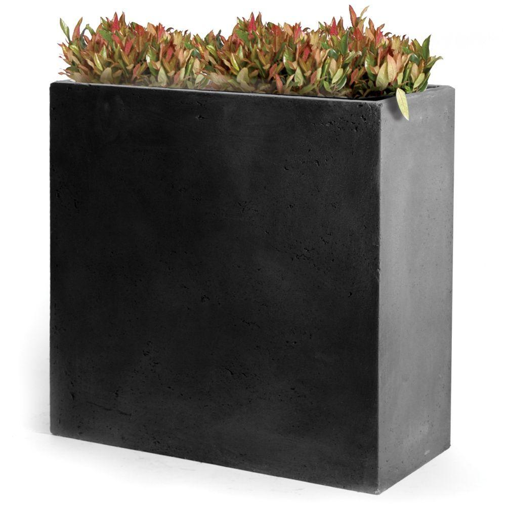 Bac À Fleurs Fibre De Terre Clayfibre L80 H92 Cm Anthracite à Bac Rectangulaire Jardin
