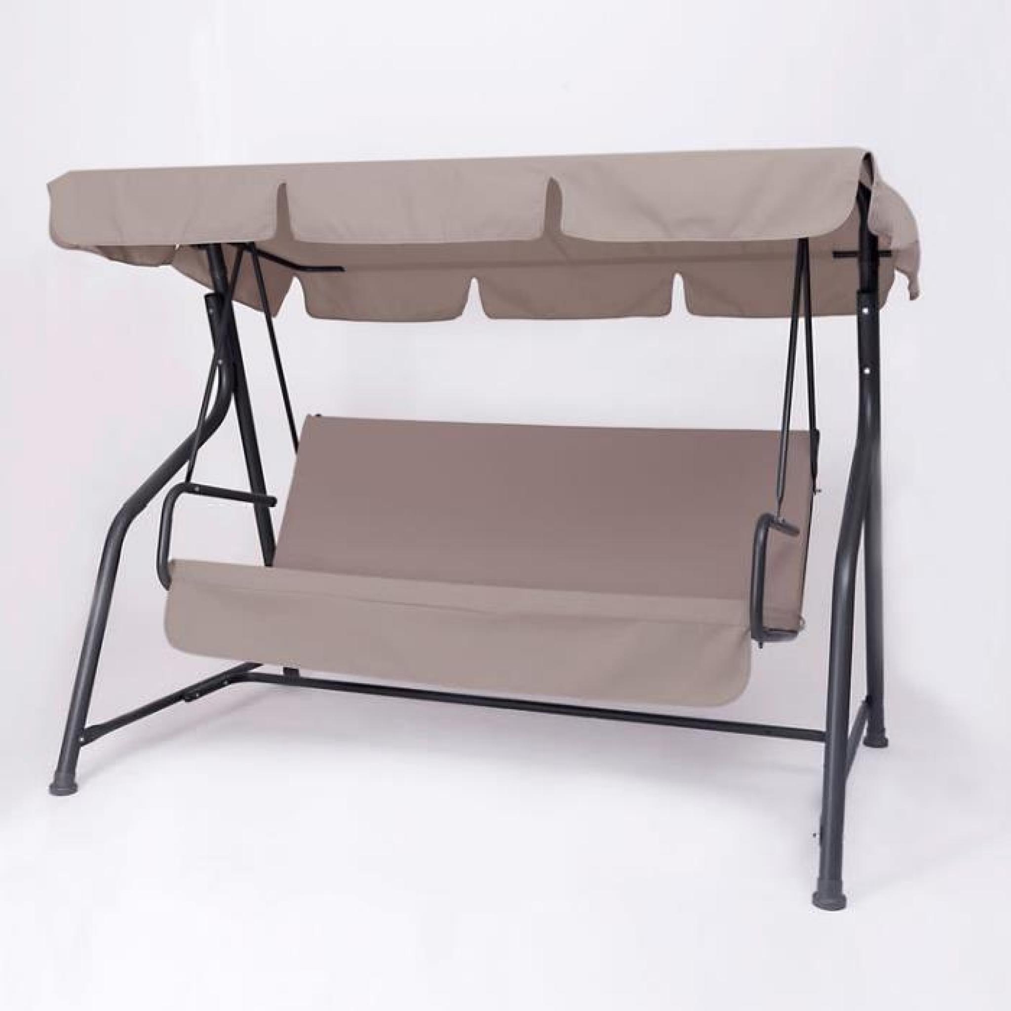 Balancelle 3 Places En Acier, Tissu Synthétique, Coussin Coton Et Polyester  150Cm Classic pour Coussin Balancelle