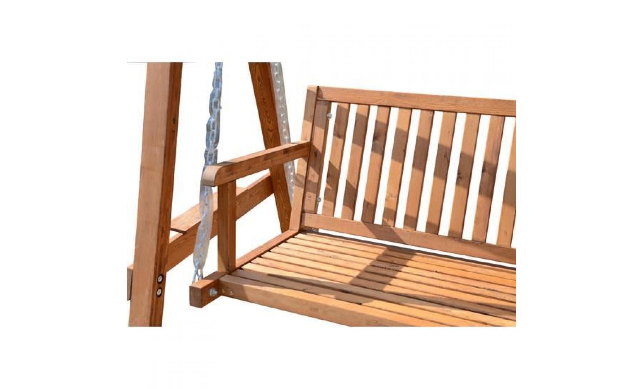 Balancelle Balançoire Hamac Banc Fauteuil De Jardin En Bois De Pin 3 Places  Charge Max. 360Kg tout Balancelle Bois Jardin