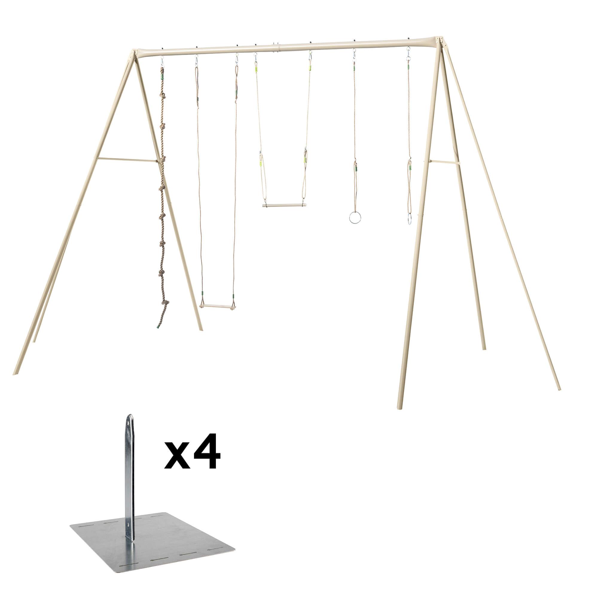 Balançoire En Métal 4 Agrès Ado/adultes - Modèle Baxter - Balançoire + Kit  De Scellement (4 Piquets En Métal De Fixation) dedans Balancoire Metal