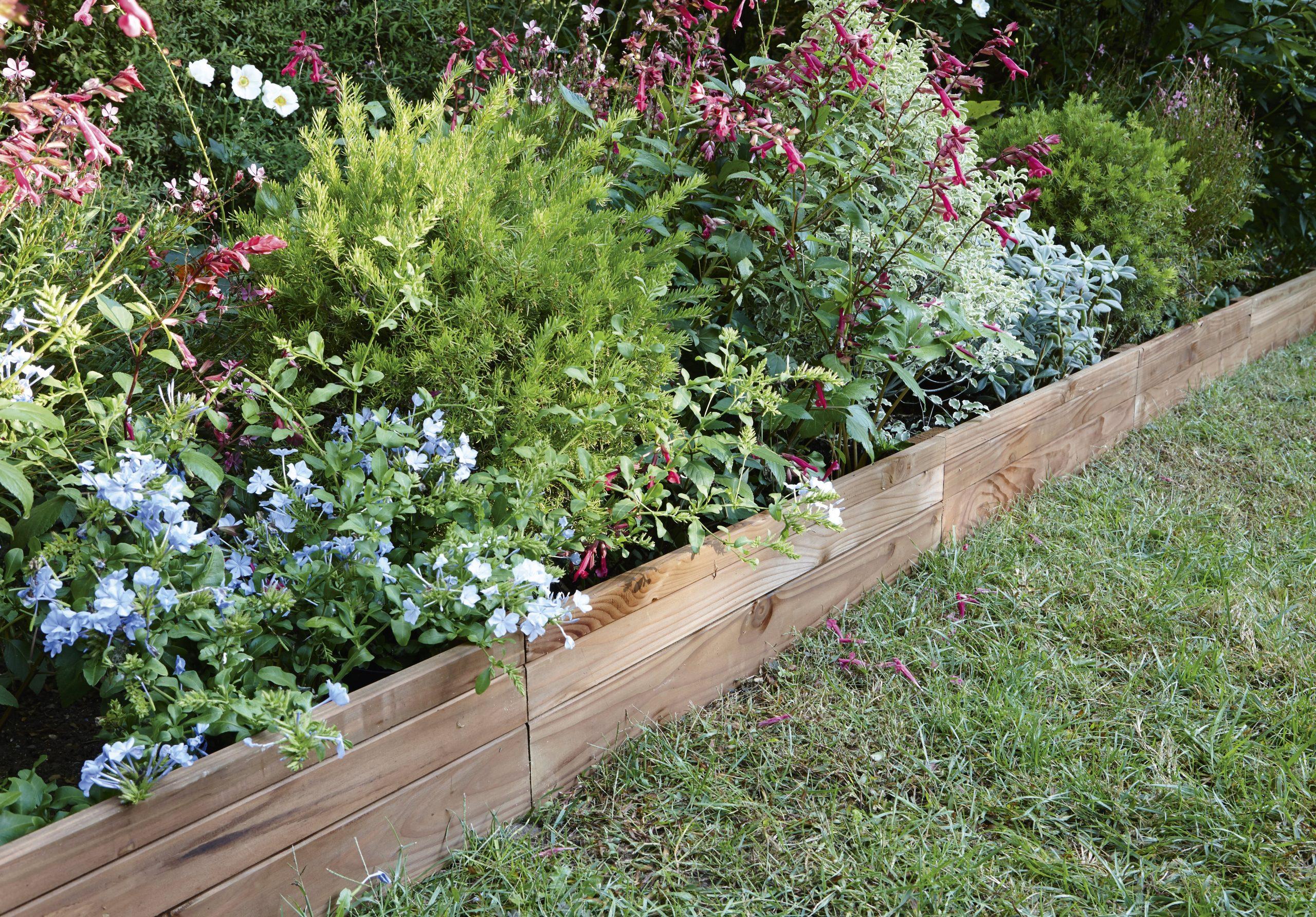 Bordure À Planter Douglas Bois Marron, H.45 X L.90 Cm dedans Bordure Jardin Bois