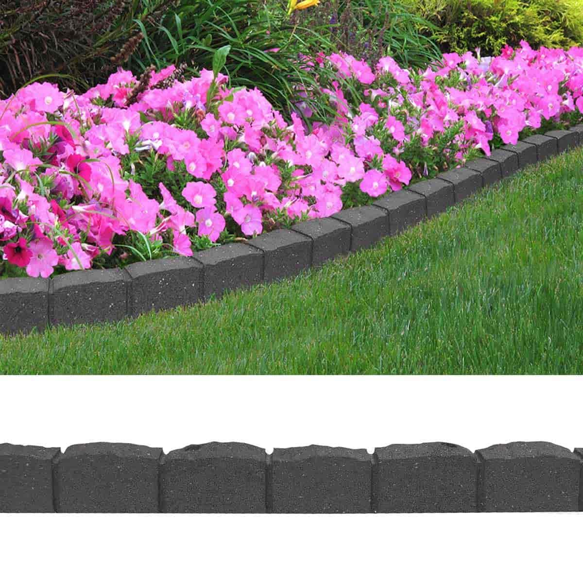 Bordure De Jardin Effet Pavés 122Cm - Caoutchouc Recyclé tout Bordure Jardin