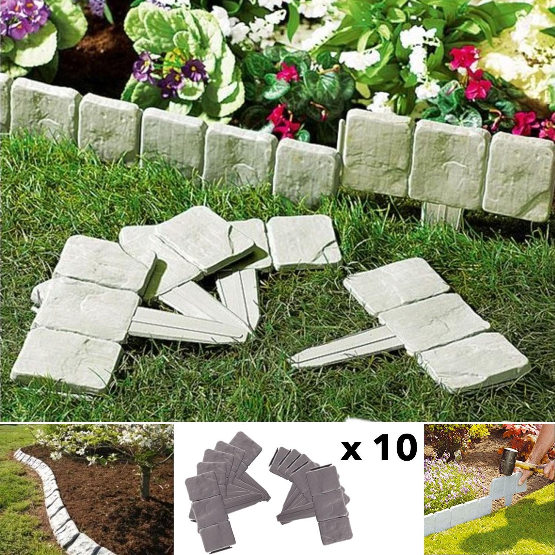Bordurette De Jardin Imitation Pierre X10 Pièces Probache pour Bordure De Jardin Pas Cher