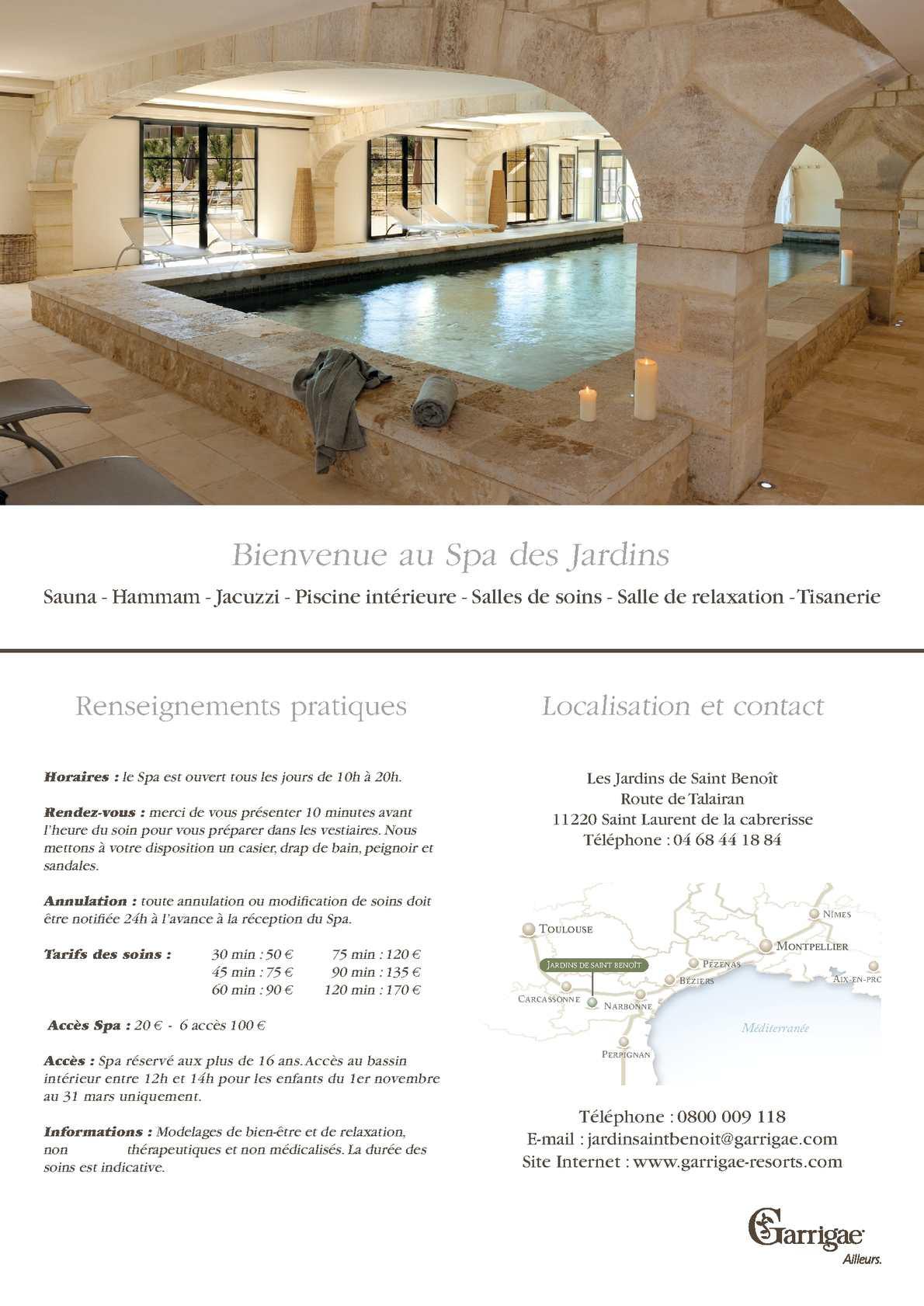 Calaméo - Carte Des Soins Jardins De Saint Benoit serapportantà Les Jardins De St Benoit Spa