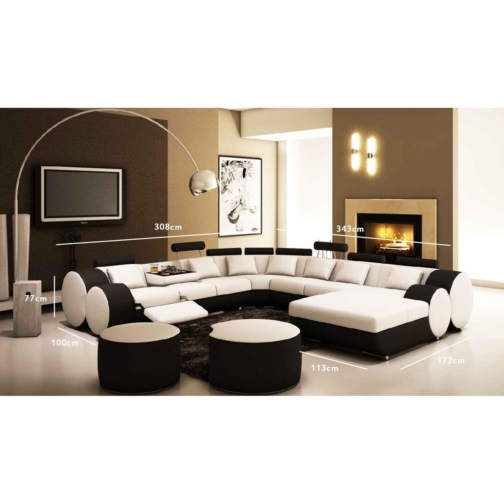 Canapé D'angle Panoramique Design En Cuir Noir Et Blanc Relax Roma encequiconcerne Salon De Jardin Blanc Design