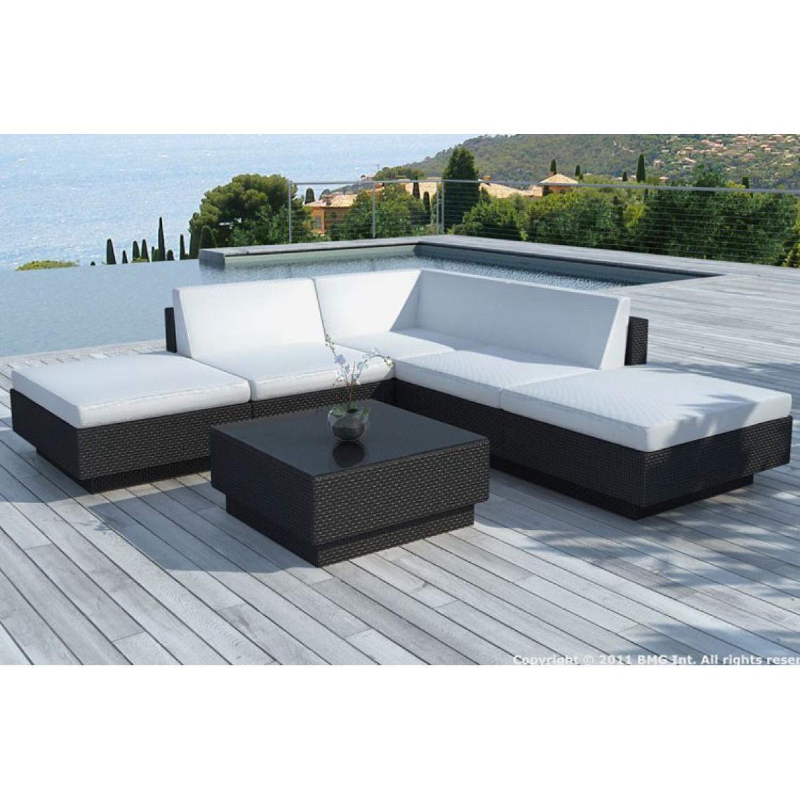 Canapé D'angle + Table De Jardin Noir Et Blanc Écru En Résine Tressée  Palace 255X255X55 Plus De Détails pour Canape D Agnle Resine