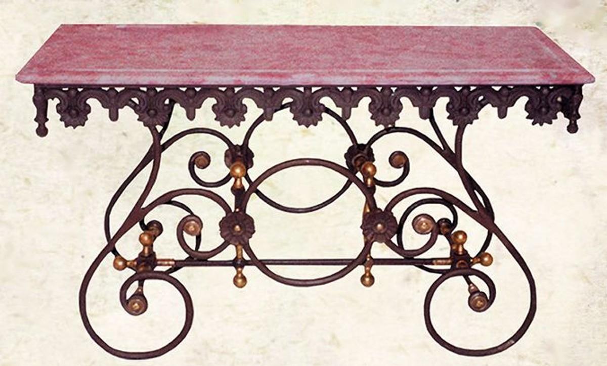 Casa Padrino Table Nostalgique De Jardin En Fer Forgé Avec Plateau En  Marbre Blanc - 135 Cm X 55 Cm X H70 Cm - Jardin De Luxe Meubles destiné Table Jardin Marbre Fer Forgé