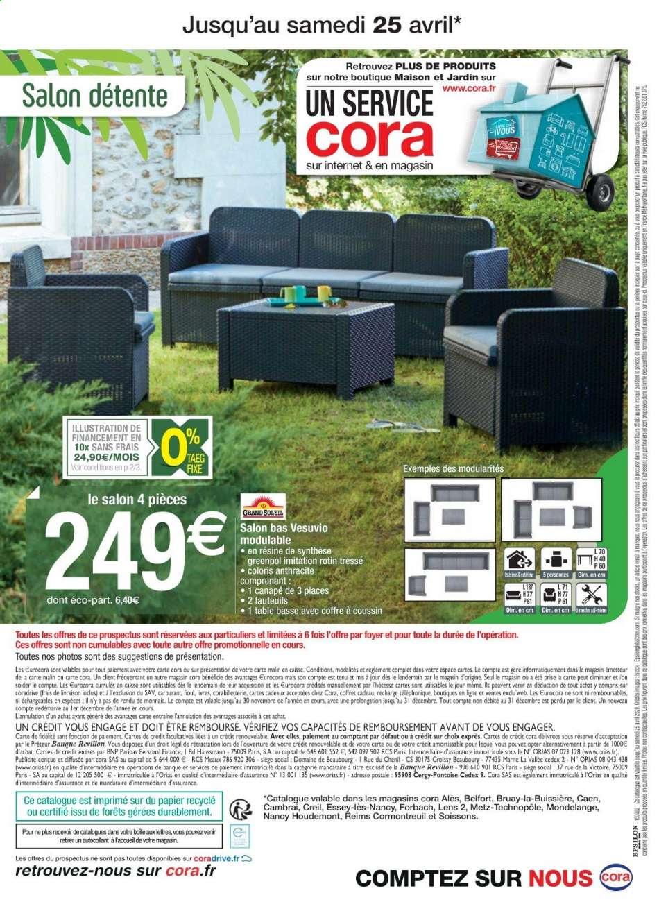 Catalogue, Prospectus, Pub Cora 07.04.2020 - 25.04.2020 ... avec Salon De Jardin Cora 2020