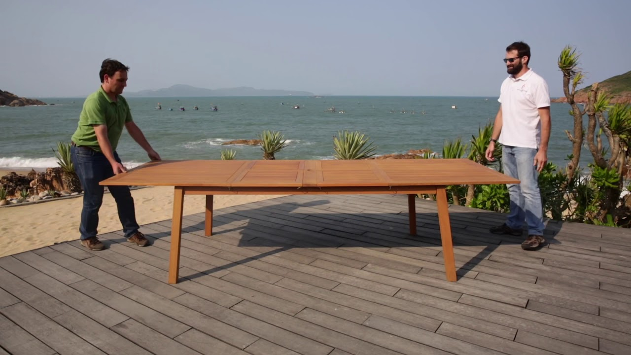 Cdiscount_Ensemble Table Extensible 200 - 250 - 300 Cm Et 8 Chaises  Pliantes En Eucalyptus Bois encequiconcerne Table De Jardin En Bois Pliante