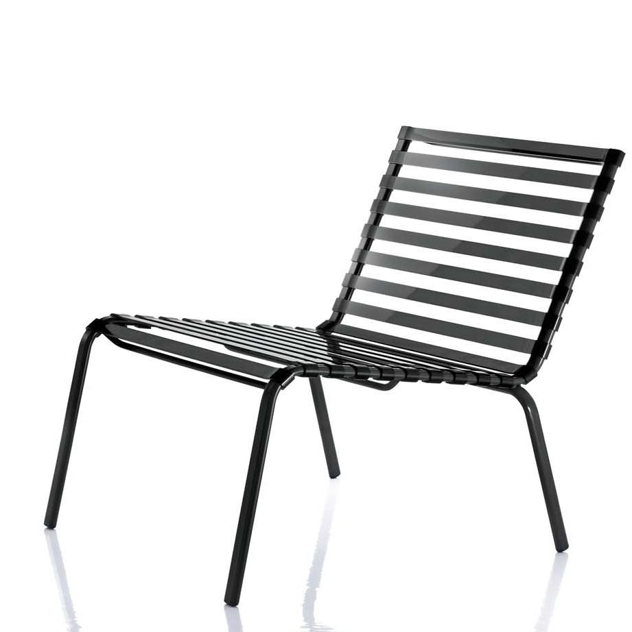 Chaise Basse Striped Poltroncina De Magis, Noir destiné Chaise Basse Jardin