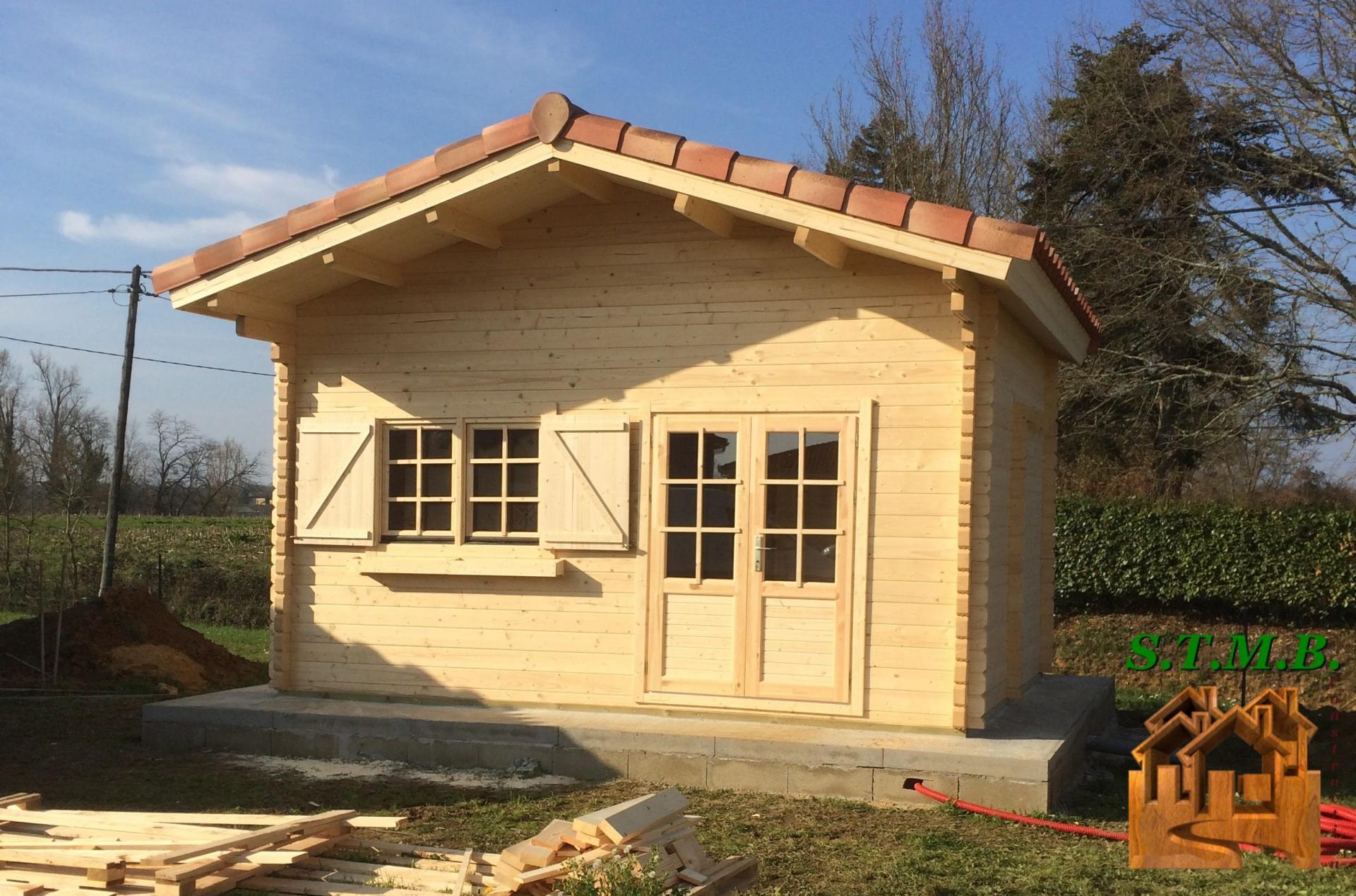 Chalet En Bois Sans Permis De Construire Laurier 20 Mezzanine Sb - Stmb avec Chalet En Bois Habitable 20M2