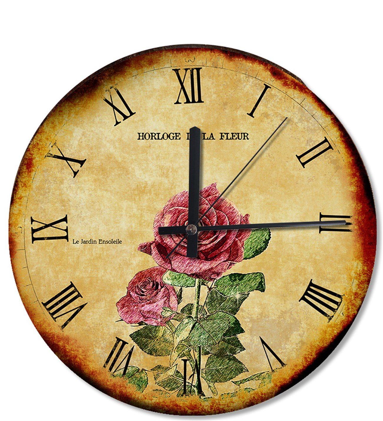 Dalında Pembe Gül Çiçek Tasarım Duvar Saati concernant Horloge De Jardin