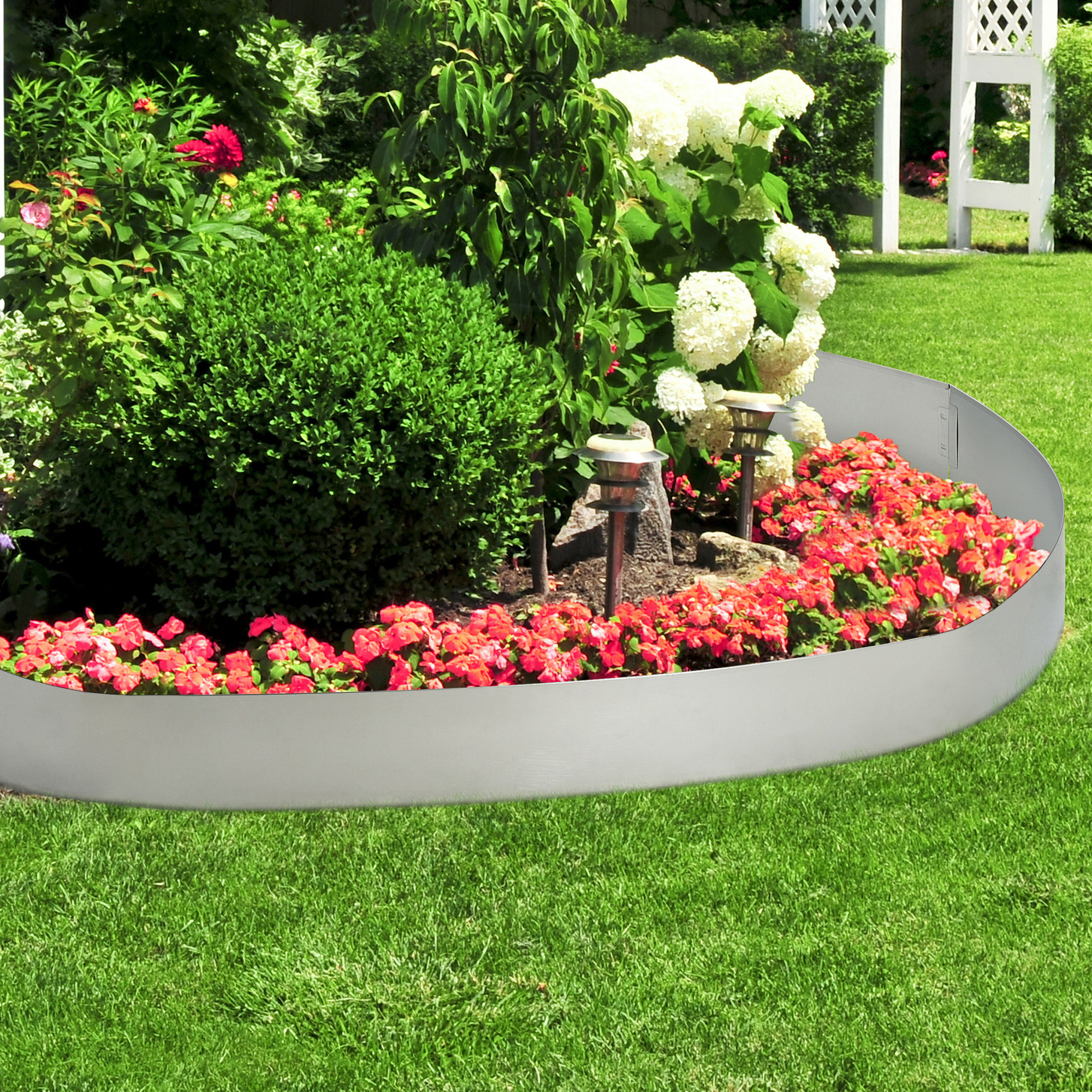 Détails Sur [Casa.pro]® Bordure Pour Jardin Acier Galvanisé Barrière 500 Cm  Kit De 5 concernant Bordure Jardin Flexible