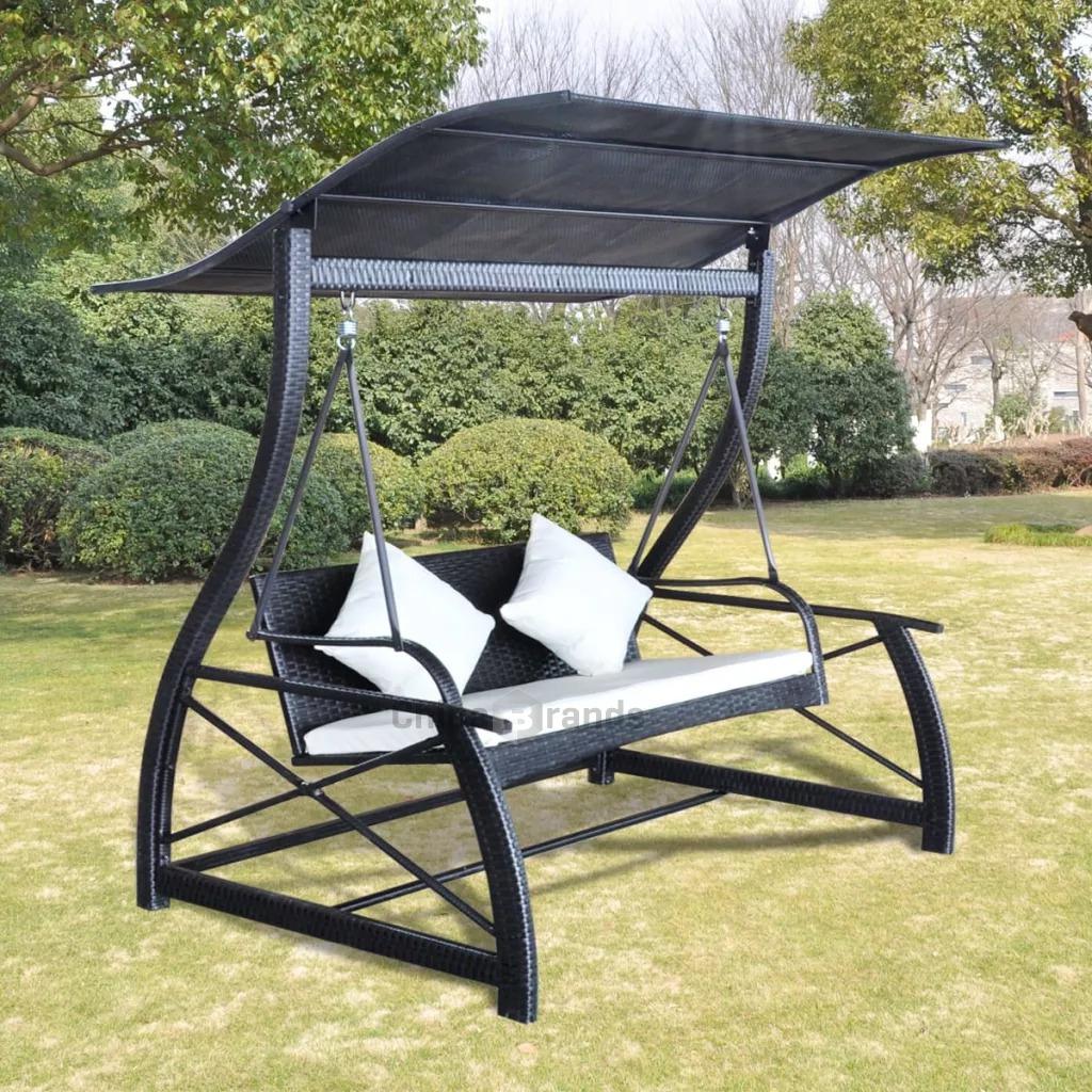 (0) Reviews Vidaxl Balancelle De Jardin Rotin Synthétique Noir  167X130X178Cm 43072 pour Balancelle Jardin
