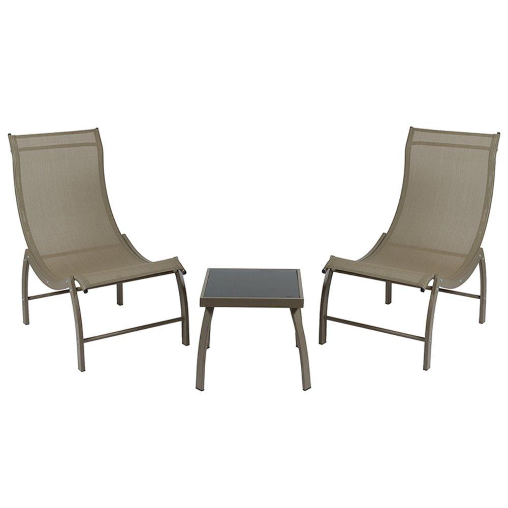 Ensemble De Jardin Composé De 2 Chaises Longues Et D'une Table Basse Marron intérieur Chaise Basse De Jardin
