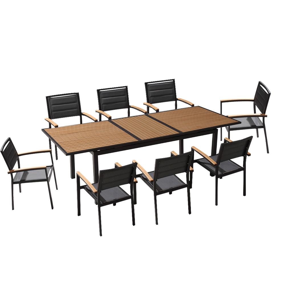 Ensemble De Jardin Table Extensible 240Cm Et 8 Chaises Polywood Et  Textilène Noir tout Table Jardin Noire