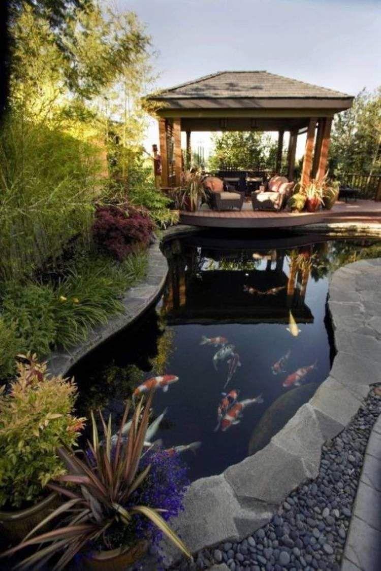 Étang De Jardin Moderne Pour Héberger Les Poissons Et ... concernant Bassin De Jardin Moderne